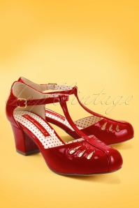 B.A.I.T. 40s Robbie T-Strap Pumps in Patent Red