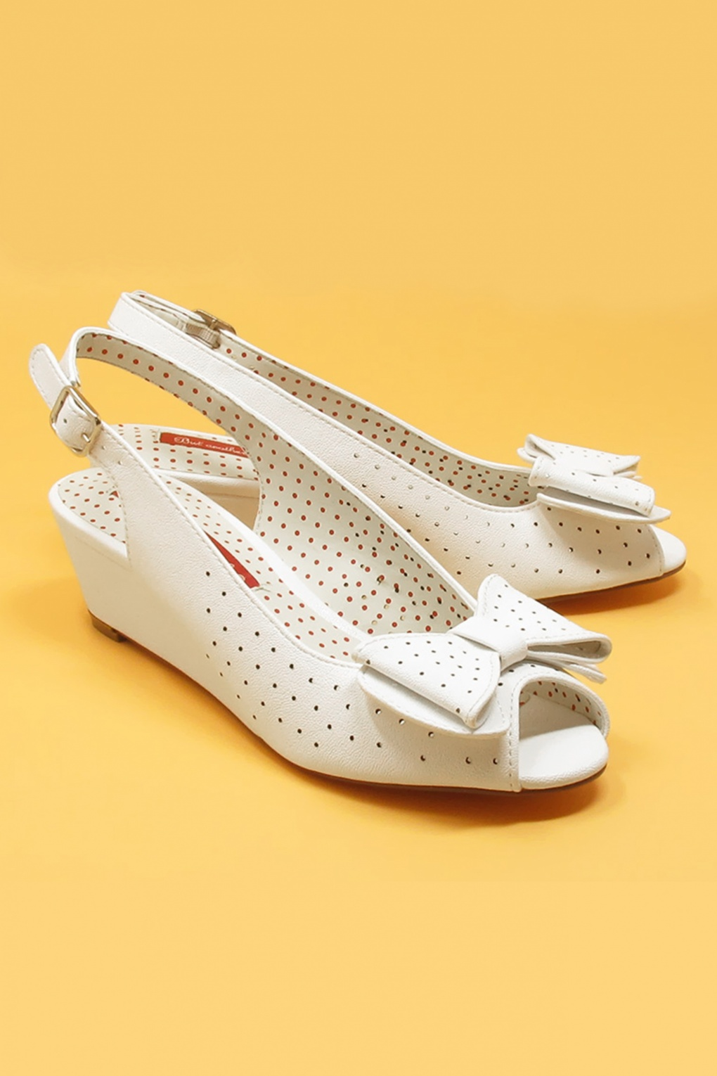 Pin Up Shoes- Heels, Pumps & Flats 50s Jasmine Wedge Peeptoes in White £66.43 AT vintagedancer.com