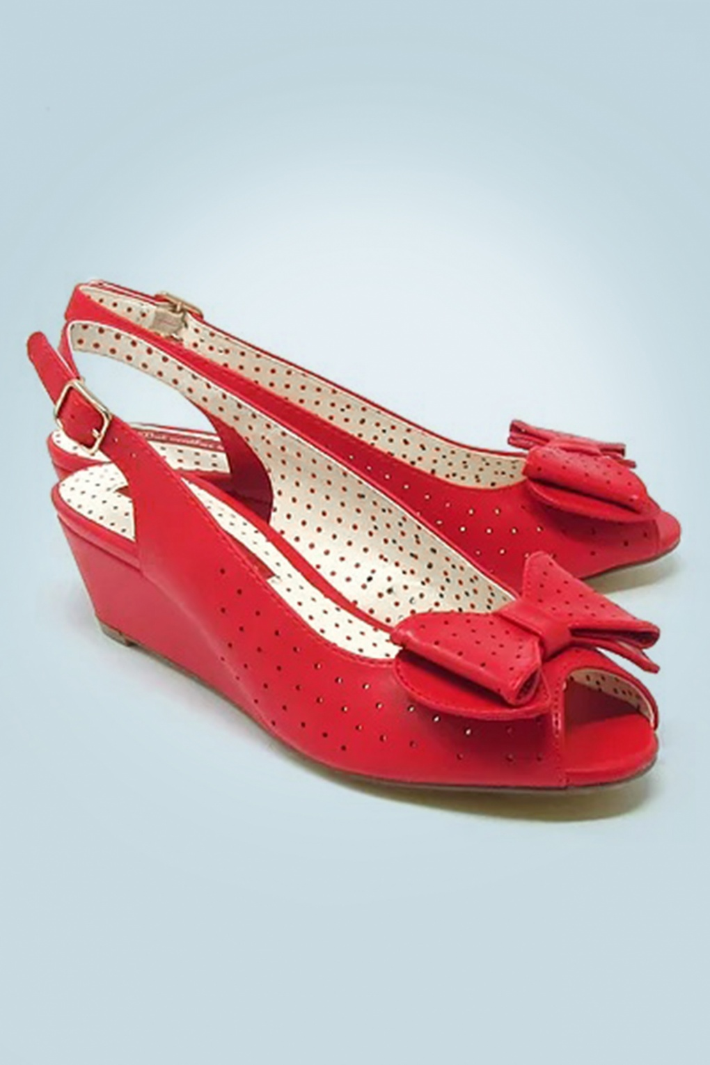1950s Shoe Styles: Heels, Flats, Sandals, Saddles Shoes 50s Jasmine Wedge Peeptoes in Red �66.43 AT vintagedancer.com