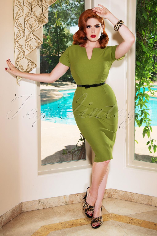 60s Dresses | 1960s Dresses Mod, Mini, Hippie The Jayne Pencil Dress in Olive £94.64 AT vintagedancer.com
