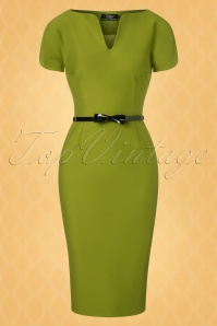 Vintage Diva 28881 Jayne Pencil Dress in Olive Green 20181114 002W1