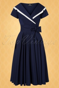 Vintage Diva 28861 Greta Swing Dress in Navy Blue 20181114 005W1