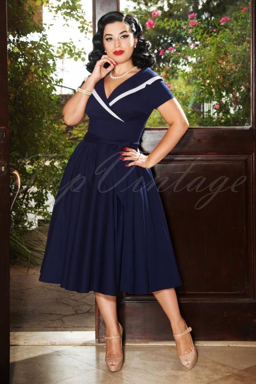 Vintage Diva 28861 Greta Swing Dress in Navy Blue 20181114 2W