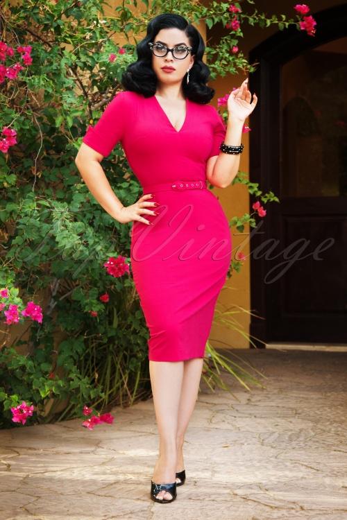 Vintage Diva 28877 Regina Pencil Dress in Hot Pink 20181116 2