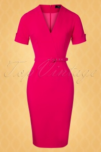 Vintage Diva 28877 Regina Pencil Dress in Hot Pink 20181116 002W1
