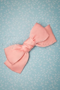 50s Sandy Satin Hair Bow in Pastel Pink