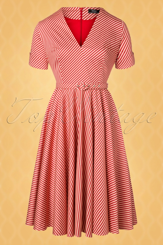 Sailor Dresses, Nautical Theme Dress, WW2 Dresses The Regina Swing Dress in Candy Stripe �123.68 AT vintagedancer.com
