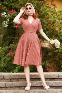 Vintage Diva by TopVintage The Regina Swing Dress in Candy Stripe