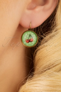 50s Polka Dot Cherry Earhanger in Green