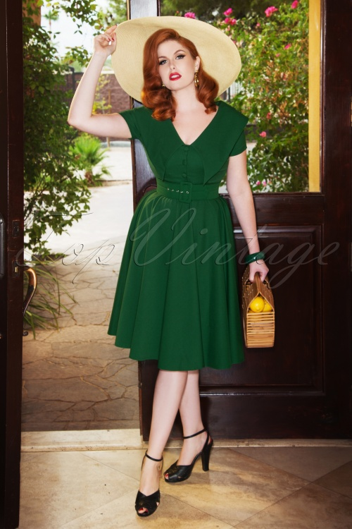 Vintage Diva 28866 Joan Swing Dress in Green 20181114 01