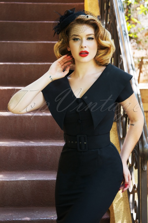 Vintage Diva 28864 Joan Pencil Dress in Black 20181116 4W