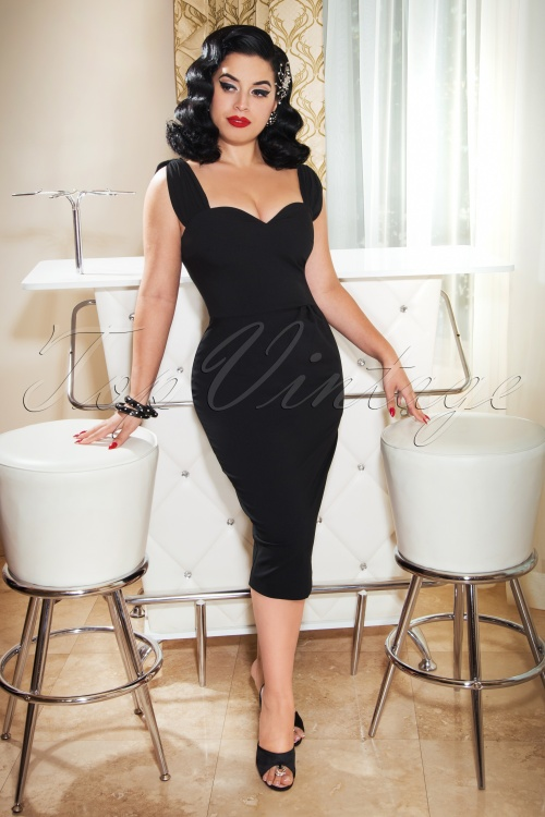 Vintage Diva 28854 Nina Pencil Dress in Black 20181114 02W