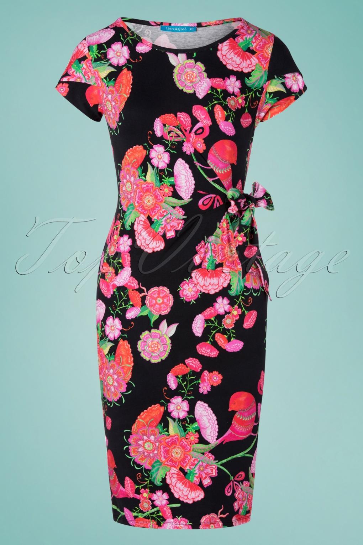 60s Suzie Birdy Pencil Dress in Black