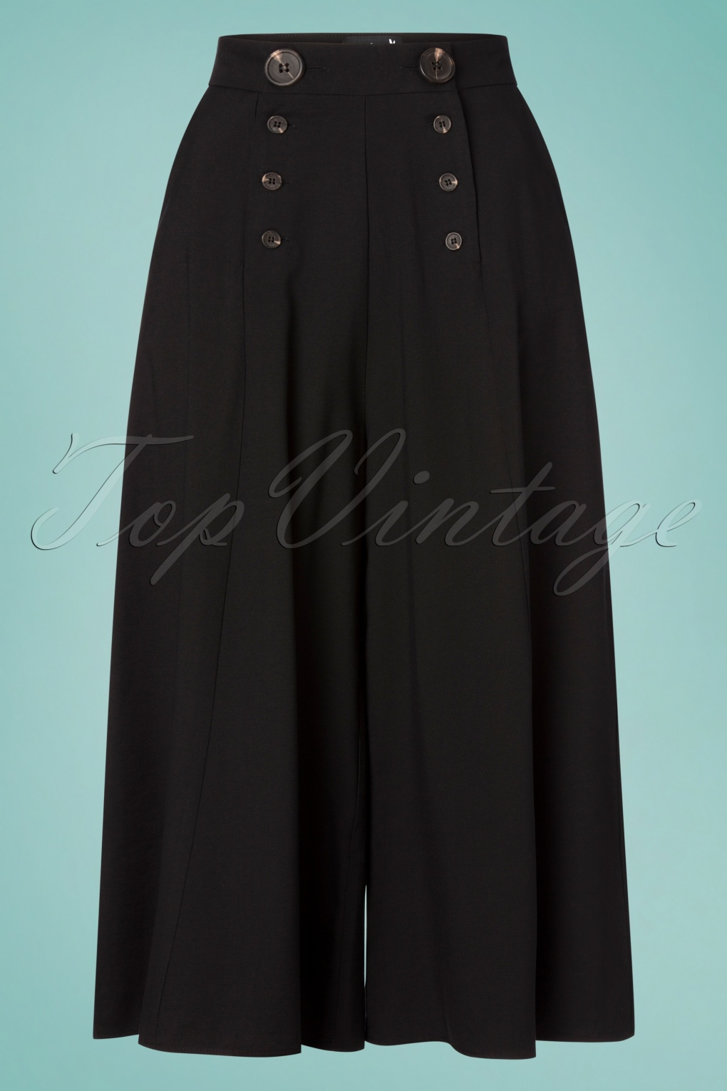Vintage High Waisted Shorts, Sailor Shorts, Retro Shorts 30s Murphy Culottes in Black £53.37 AT vintagedancer.com