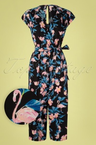 70s Florida Flamingo Jumpsuit in Black