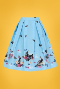 Bunny 50s Cotton Tail Swing Skirt in Blue