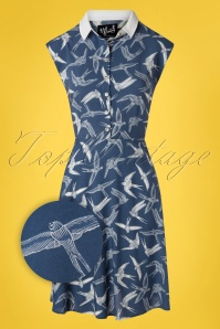 40s Lilou Swallow Dress in Blue