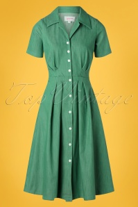 50s Janet Swing Dress in Green Denim