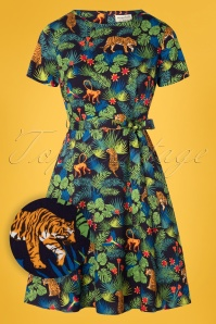 Sugarhill Brighton 60s Ohara Jungle Dress in Navy
