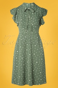 Sugarhill Brighton 40s Florrie Polka Ruffle Dress in Vintage Green
