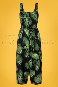 Sugarhill Brighton 70s Millie Palm Batik Cropped Jumpsuit in Black and Green