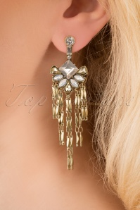 Meryl Stone Statement Tassel Earrings Années 20 en Doré