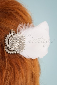 Unique Vintage 28634 White Feather Hairclip Diamont 20190228 003