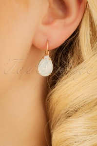 50s Mary Teardrop Crystal Earrings in Gold