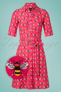 Tante Betsy Button Down Bee Dress Années 60 en Rose
