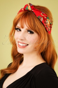 50s Floral Turban Headband in Red