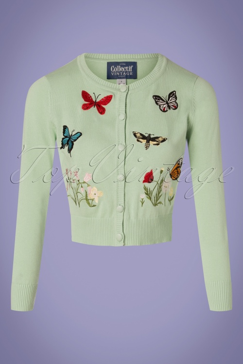 Collectif Clothing 27448 Abigail Butterfly Cardigan in Green 20180813 001W