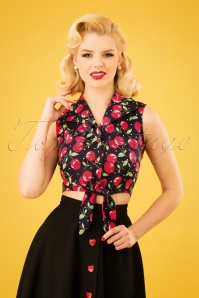 50s Cherry Soda Tie Top in Black
