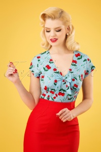 50s Cherry Tie Top in Light Blue