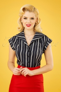 Banned Retro 20s Deckchair Stripes Blouse in Navy and White