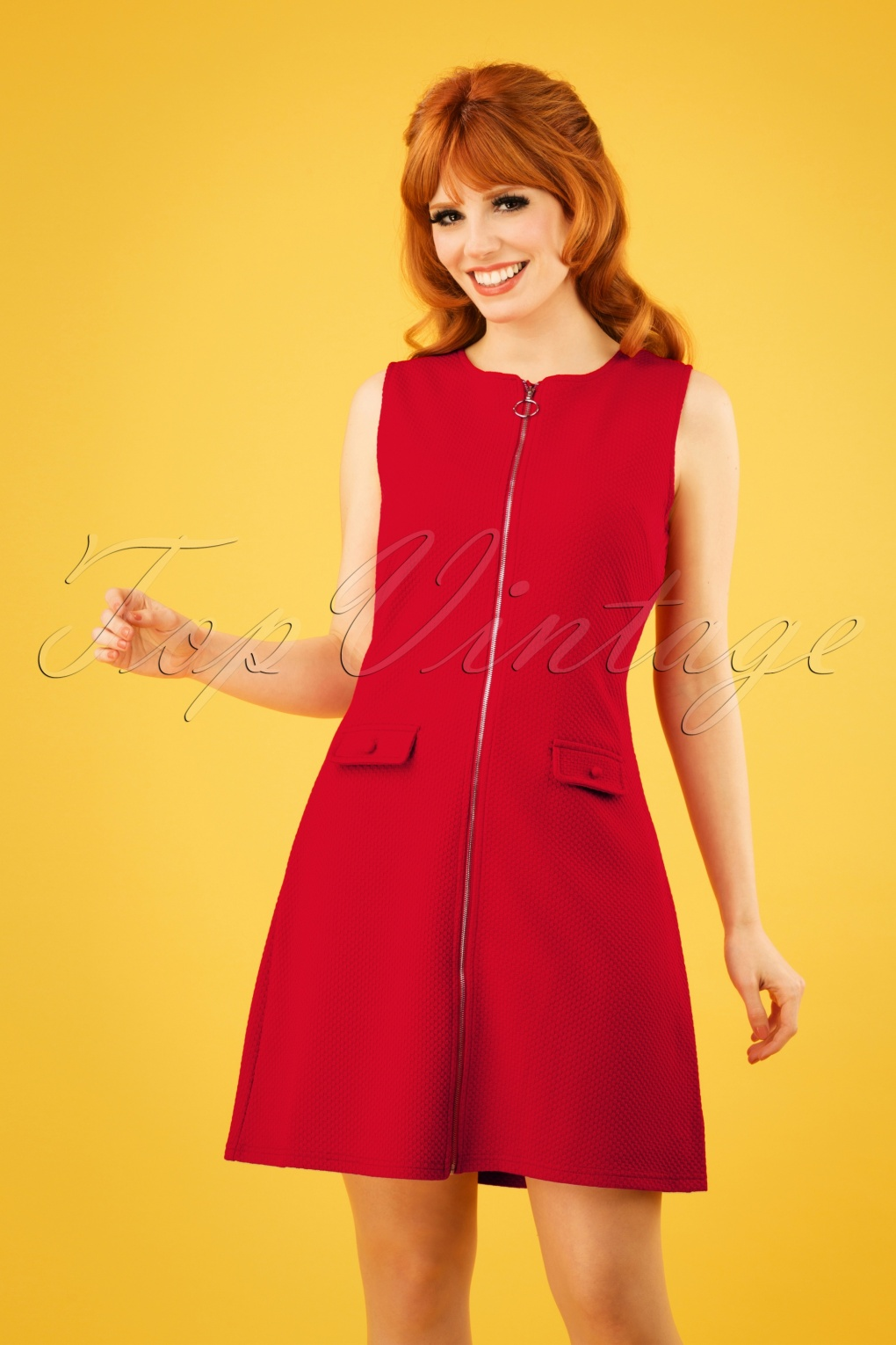 1960s Mad Men Dresses and Clothing Styles 60s Groovy Gal Dress in Lipstick Red £34.38 AT vintagedancer.com