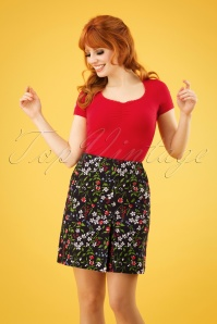 60s Alltagsfalter Skirt in Poppy Field Black