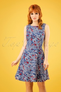 60s Petite And Oho Dress in Big City Life Blue