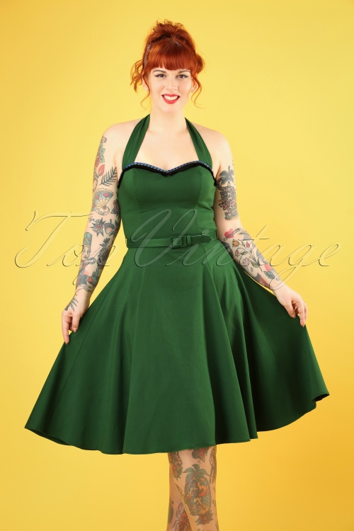 Collectif Clothing 27427 Beth Fringe Doll Dress in Green 20181217 013W