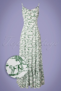 Bright and Beautiful Rose Toile Monkey Jungle Maxi Dress Années 70 en Blanc Cassé
