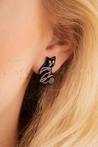 60s Cat And Ball Of Wool Stud Earrings in Black