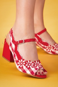 60s Hera Checked Block Heel Sandals in Red