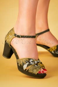 Ruby Shoo 60s Xanthe Peeptoe Pumps in Olive