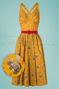 Miss Candyfloss 50s Augusta Squirrels Swing Dress in Mustard