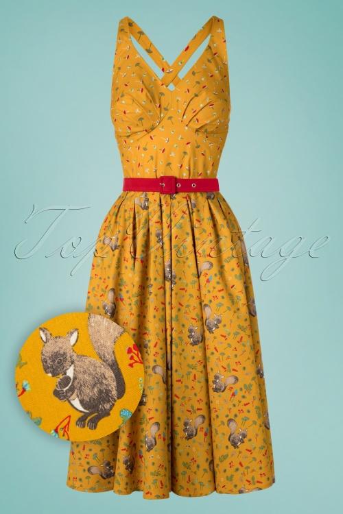 Miss Candyfloss 28670 Swing Dress Mustard 20190313 003W1