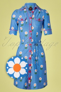 Tante Betsy 60s Betsy Daisy Dot Dress in Blue