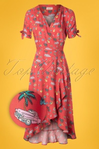 Sugarhill Brighton 70s Jackie Havana Midi Frill Wrap Dress in Red