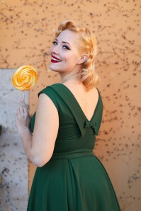 50s Arista Gia Swing Dress in Forest Green