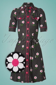 60s Betsy Daisy Dot Dress in Black