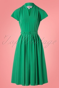 50s Aemela Ivy Swing Dress in Emerald Green