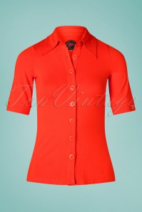 60s Glenda Button Shirt in Orange